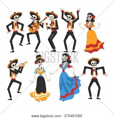 Skeletons In Mexican National Costumes And Sombrero Hats Playing Music Instruments And Dancing, Day
