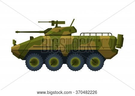 Armored Infantry Vehicle, Heavy Camouflage Special Machinery Flat Vector Illustration