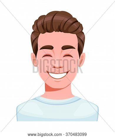 Face Expression Of Handsome Young Man, Laughing. Male Emotion. Avatar. Cartoon Character. Vector Ill
