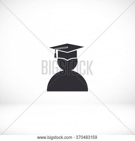 Male Graduate In Graduation Cap. Student Icon. Graduation. Eps 10 Vector