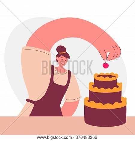 Woman Cooking A Cake At Home. Young Woman Decorates A Baked Cake With A Cherry. Cartoon Character In