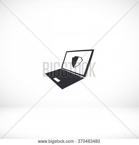 Laptop Antivirus Icon . Vector Eps 10 . Lorem Ipsum Flat Design
