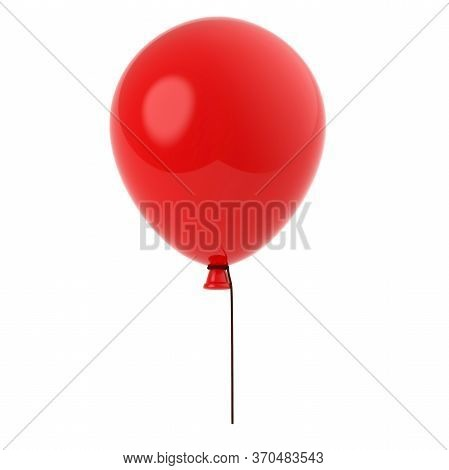 3d Render Of Red Baloon Solated On White Background