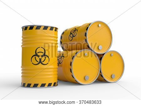 Biohazard waste yellow barrels with biohazard symbol, isolated on white background. Toxic waste in barrels. 3d render illustration