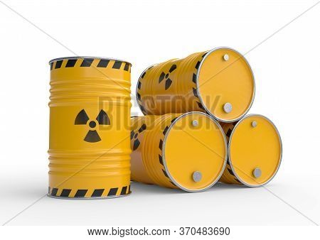 Radioactive waste yellow barrels with radioactive symbol, isolated on white background. Nuclear waste in barrels. 3d rendering illustration