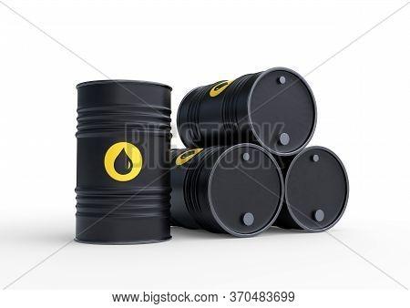 Black barrels of oil on a white background. 3D rendering illustration