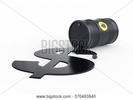 Barrel of oil spilling dollar sign on a white background. Black barrel from which oil spills. Oil prices inflation. 3D rendering illustration
