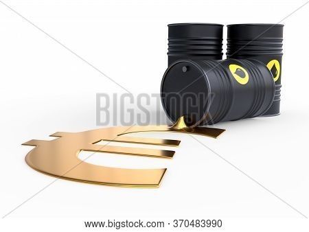 Barrel of oil spilling golden euro sign on a white background. Black barrel from which oil spills. Oil prices inflation. 3D rendering illustration