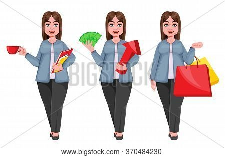 Happy Large Business Woman, Woman Of Plus Size, Set Of Three Poses. Smiling Chubby Businesswoman Car