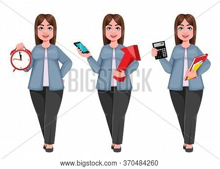 Happy Large Business Woman, Woman Of Plus Size, Set Of Three Poses. Cheerful Chubby Businesswoman Ca
