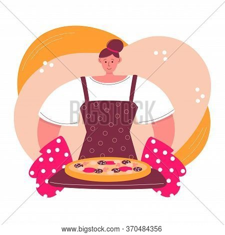 Woman Cooking Pizza At Home. Young Woman And Freshly Baked Pizza With Salami Sausages. Cartoon Chara