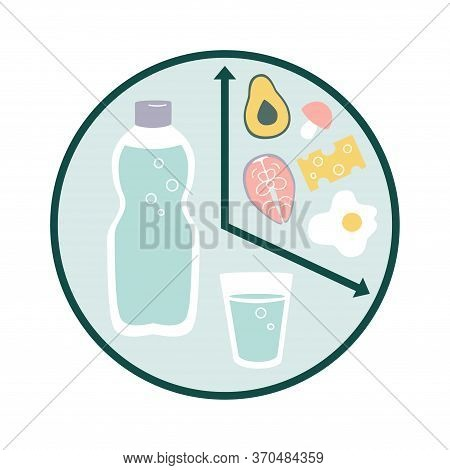 Vector Illustration Intermittent Fasting. Clock With Water And Healthy Food. Time Restricted Eating