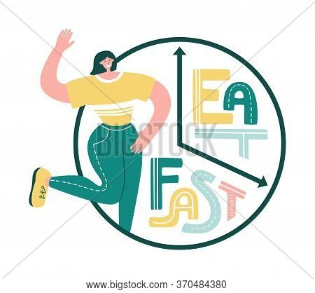Intermittent Fasting. Happy Smiling Woman And Eat And Fast Phrase. Clock With Hand Lettering. Time R