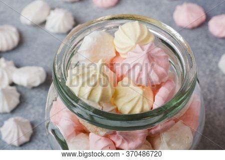 Small Home Meringue In A Glass Jar. Homemade Meringue. Copy Space.
