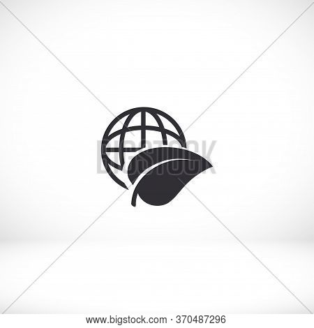 Planet And Leaf Icon. Vector Eps 10. Planet. Sheet. Petal. A Leaf Flies Around The Earth. Ball 10 Ep