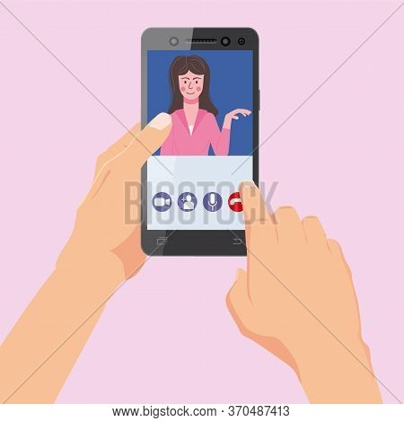 Hand Holds Smartphone. Video Conference Woman On Screen Phone Talking By Internet In Videocall, Chat