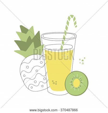 Fresh Summer Smoothie In A Glass. Tall Cup With A Straw And Fruits. Delicious Summer Drink Made Of K