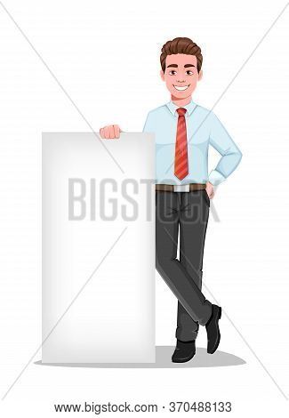 Successful Business Man Standing Near Blank Banner. Handsome Businessman In Business Clothes. Cheerf