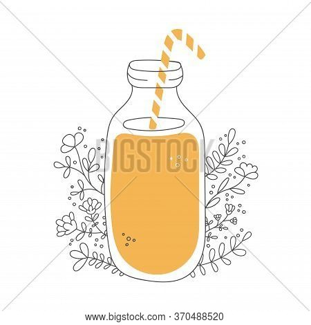 Fruity Smoothie With Decorative Flowers. Glass Bottle With A Straw And Tasty Drink. Jar With Orange