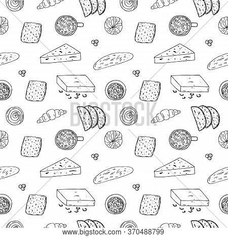 Danish Breakfast Seamless Pattern, Vector Illustration, Coffee, Rolls, Croissant, Bread, Butter, Che