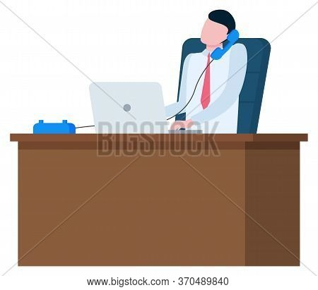 Man Speaking On Telephone At Workplace With Notebook Isolated. Person Sitting On Chair And Talking,