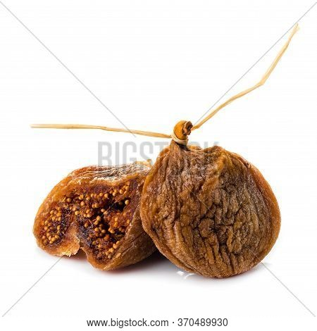 Dried Fig Fruit On White Background, Closeup Dry Figs Isolated