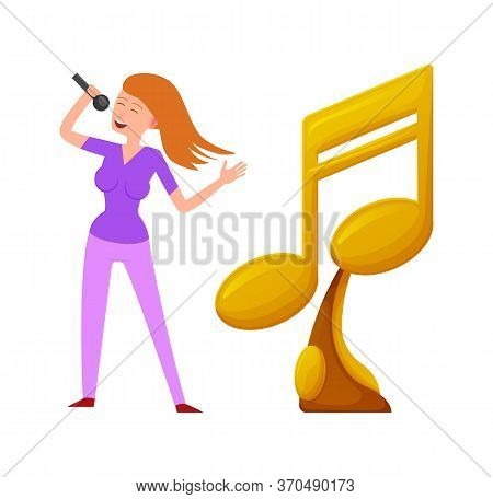 Music Trophy Vector, Gold Award For Best Song, Canto Of Contestant. Woman With Microphone Champion O