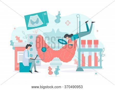 Diagnostics And Treatment Of Thyroid Diseases.  Thyroid  Health Concept Medical Concept With Tiny Pe