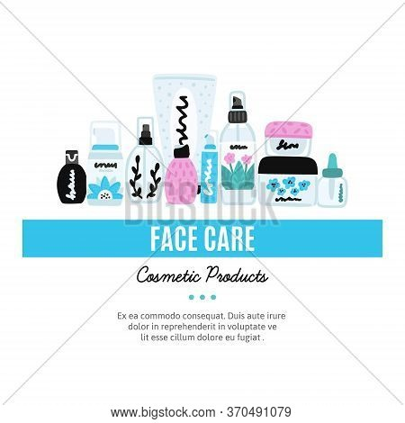 Vector Cosmetic Products. Natural Cosmetics. Beauty Care. Flat Hand Drawn Elements Is For Advertisin