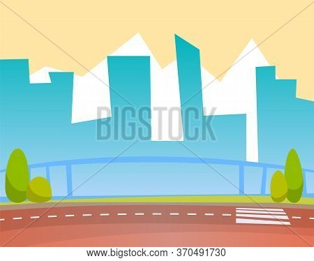 Street, Cityscape Backdrop, Skyscrappers Silhouettes And Road With Crosswalk Vector. Downtown Towers