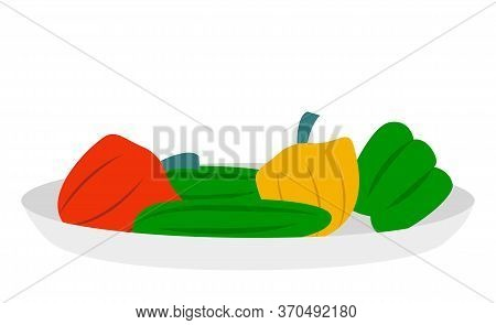 Fresh Bell Or Sweet Peppers On Round Plate. Capsicum Plant Can Use For Cooking Food. Vegetables On D