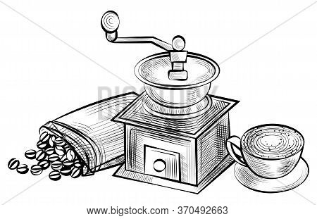 Coffee Grinder Machine And Beans In Sack Vector, Bag With Products. Monochrome Sketch Outline, Color