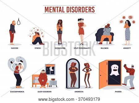 Mental Disorder Set - Cartoon People With Psychological Problems. Suicide And Depression, Schizophre