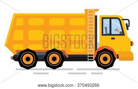 Dump Truck Of Transportation Of Soil, Empty Trucking Automobile. Yellow Lorry With Stairs, Side View