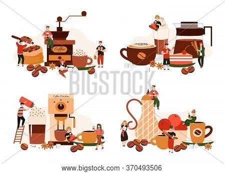 Coffee Machine Equipment And Tiny Barista People Making Cafe Drinks - Cartoon Poster Set With Giant