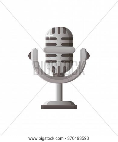 Mic In Vintage Style Vector, Retro Mike For Singing And Performing Concert Program Of Artists Isolat