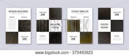 Business Brochure Design Template Set. Gold Abstract Lines On Black Background. Admirable Brochure D