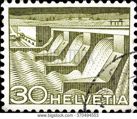 02 11 2020 Divnoe Stavropol Territory Russia The Postage Stamp Switzerland 1949 Engineering Dams Pow