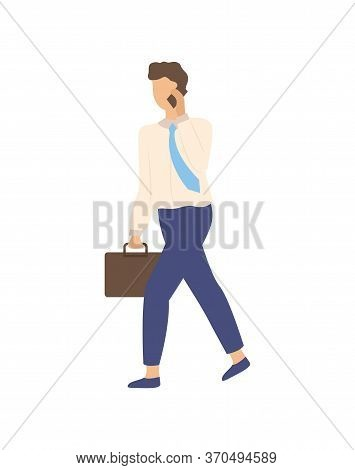 Man Speaking On Telephone, Isolated Person In Tie With Briefcase. Vector Cartoon Male With Smartphon