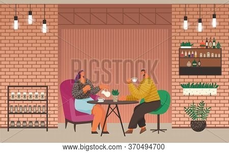People Drinking Coffee Or Tea In Cafe. Man And Woman Having Conversation And Enjoying Hot Beverage.