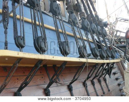 Rigging Stays On The Sides Of A Tall Ship Replica.