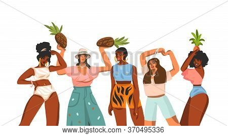 Hand Drawn Vector Abstract Stock Flat Graphic Illustration With Young Happy Multiethnic Small Gather