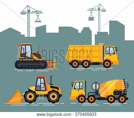 Cityscape With Cranes And Machinery Vector. Machine For Construction And Fixing, Lifter And Bulldoze