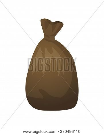 Garbage Bag With Waste Vector, Isolated Icon In Flat Style, Recycling Material In Package, Collected