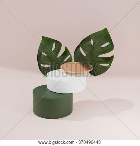 3d Display Podium Beige, Green And Gold Tropical Nature Background With Monstera Palm And Levitating