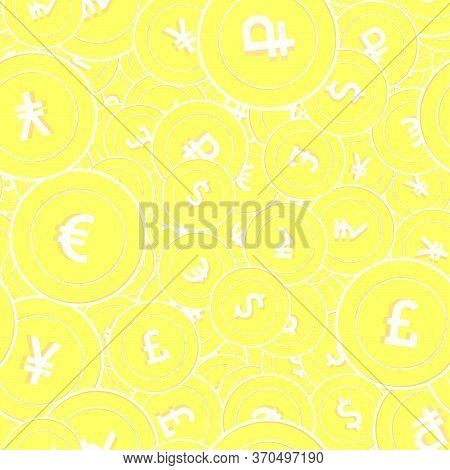 International Currencies Gold Coins Seamless Pattern. Worthy Scattered Yellow Global Coins. Success