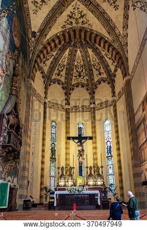 Verona, Italy, September 27, 2015 : Interior Of Santa Anastasia Church In Verona, Italy. Santa Anast