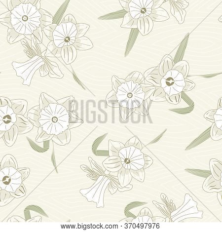 Vector Daffodil Flowers In Green White Beige Scattered On Beige Background Seamless Repeat Pattern.