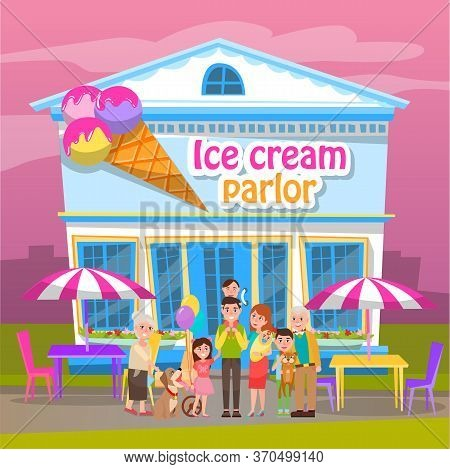 Ice-cream Parlor, Smiling Man And Woman Standing Near Building With Sweets. Restaurant With Terrace,