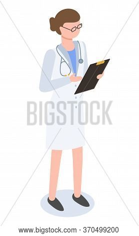 Female Doctor Isolated On White Background. Practitioner Examine And Consult People About Illnesses